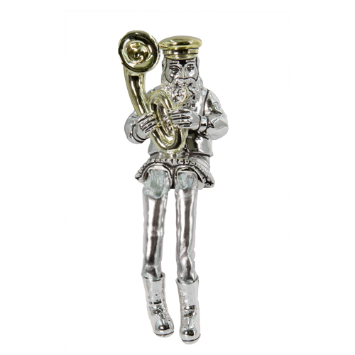 Silvered Polyresin Sitting Hassidic Figurine With Cloth Legs 26 Cm- Tuba Player
