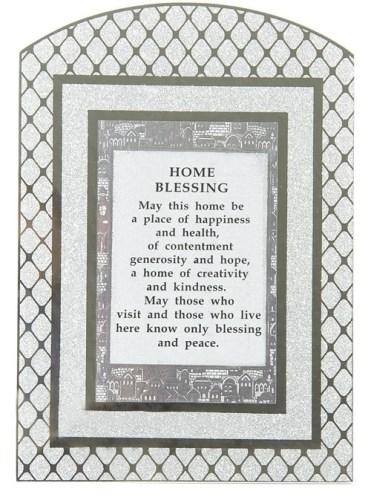 "Glass Miror Glitter English Home Blessing  - Rainbow Shaped Frame 24x17 Cm -""diamonds"""