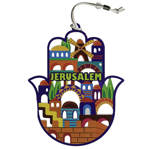 "Colorful Hamsa ""jerusalem"" Design 17 Cm"