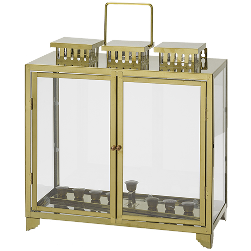 Metal And Glass Menorah Box With Candle Holders 41x40x20 Cm - Gold Profiles