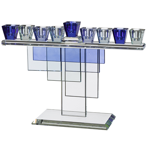 Luxurious Crystal Menorah 20x28 Cm- Blue