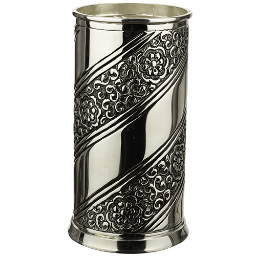 "Silver Coated  Wine Stand - ""flowers And Ornaments - Spiral Design - 18 Cm"
