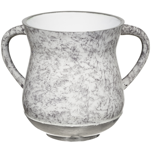 A Small Elegant Aluminum Washing Cup 11 Cm -gray & White Marble