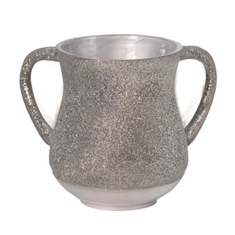 Elegant Aluminum Washing Cup 13 Cm - In Silver Glitter Coating