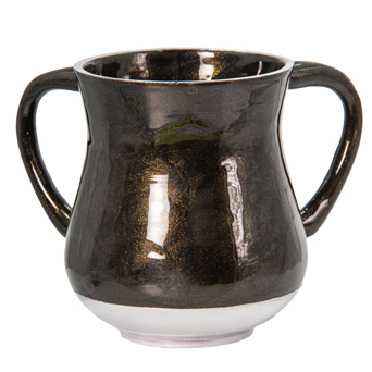 An Elegant Black Aluminium Washing Cup 13 Cm With Gold Glitter