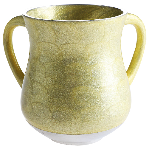 An Elegant Yellowish Aluminium Washing Cup 13 Cm With Gold Glitter