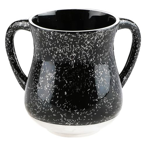 Elegant Black Aluminium Washing Cup 13 Cm With Sparkling Silver Stripes
