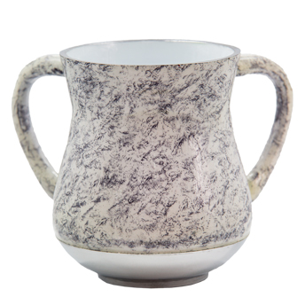 An Elegant Aluminum Washing Cup 13 Cm -gray & White Marble