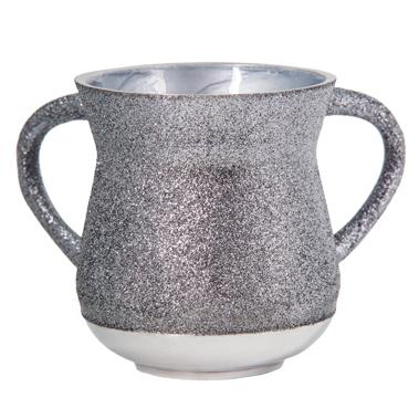 Elegant Aluminum Washing Cup 11 Cm - In Silver & Gray Glitter Coating