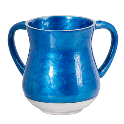 An Elegant Blue Aluminium Washing Cup 13 Cm With Glitter