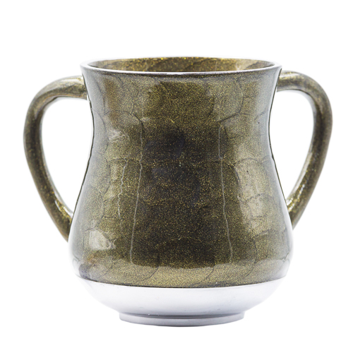 Elegant Aluminium Washing Cup 13 Cm With Gold Sparkling In Olive Green