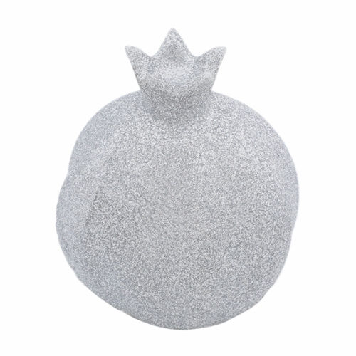 Elegant Aluminum Pomegranate 10x8x4 Cm - In Silver Glitter Coating