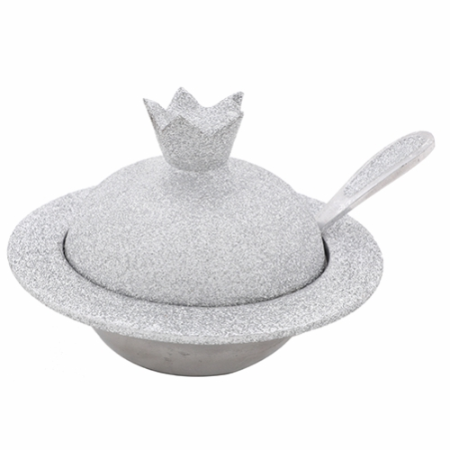 Aluminum Honey Dish 9x12x8 Cm -  In Silver Glitter Coating + Teaspoon
