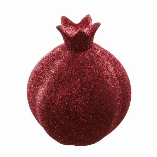 Elegant Aluminum Pomegranate 10x8x4 Cm -  In Bordeaux Glitter Coating