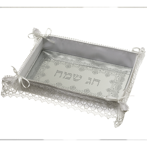 "Glitter Glass Challah Tray 40 Cm ""happy Holiday""- Lace Design"