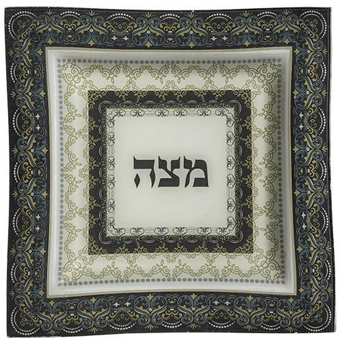 Glass Matzah Plate 28 Cm - Green