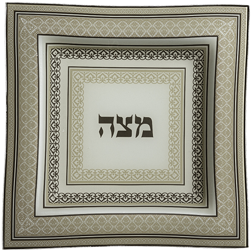 Glass Matzah Plate 28 Cm - Off White