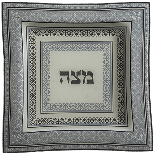 Glass Matzah Plate 28 Cm - Blue