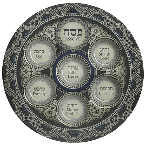 Glass Passover Plate 40 Cm - Blue