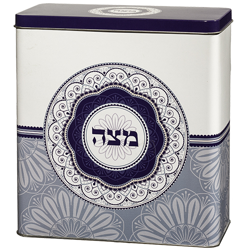 Tin Matzah Box 20.5*19 Cm- Oval Blue
