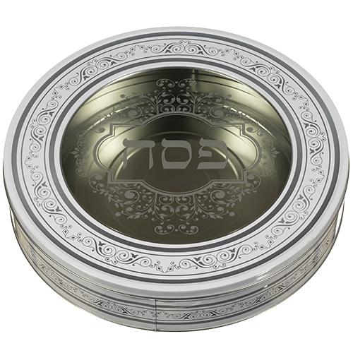 Tin Round Matzah Box34 Cm- White