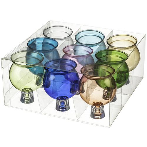 Glass Oil Cups 7x4.5 Cm- Assorted Colors (9)