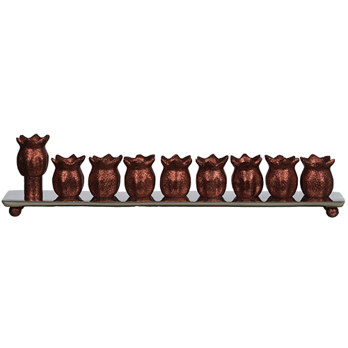 Aluminum Menorah 35 Cm- Pomegranate