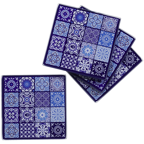 Glass Set: 4 Saucers 10 Cm- Blue Mosaic Design