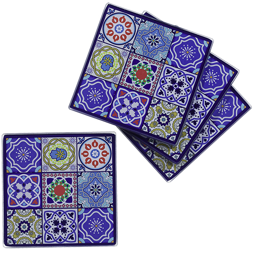 Glass Set: 4 Saucers 10 Cm- Colorful Mosaic Design