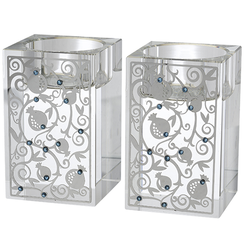 Pair Crystal Square Candlesticks 8 Cm With Metal Plate And Light Blue Stones