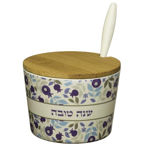 """Bamboo Honey Dish """"shana Tovah""""- Blue"""