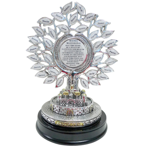 "Silvered Polyresin English Tree Of  Blessings With Base And English ""home Blessing"" 20x15 Cm"