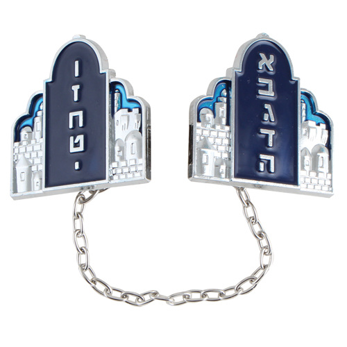 """Nickel Tallit Clips """"luchot"""" 9cm With Chain Blue Enamel"""