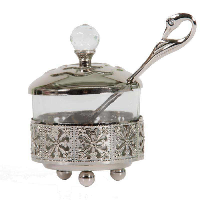 Silvered Filigree Honey Dish