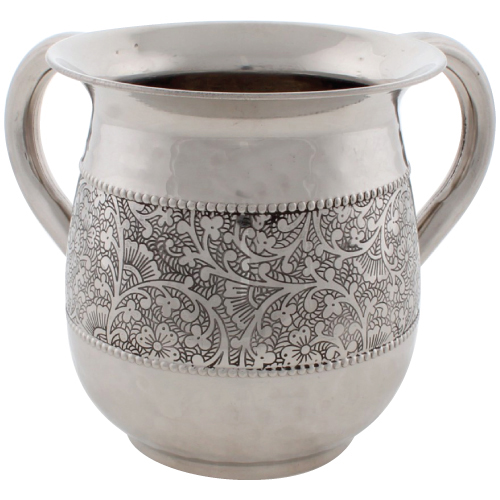 Stainless Steel Washing Cup 12cm- Silver Dotted Design