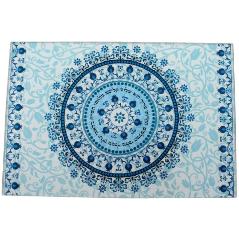 Reinforced Thick Glass Challah Tray 25x37 Cm  - Blue