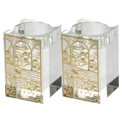 "Square Crystal Candlesticks 8cm With Metal Plaque- ""jerusalem"""