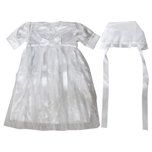 Satin Bris Milah Outfit With A Hat - White Embroidery