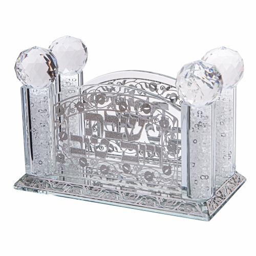Elegant Crystal Bencher/napkins Holder With Plate 11x15 Cm