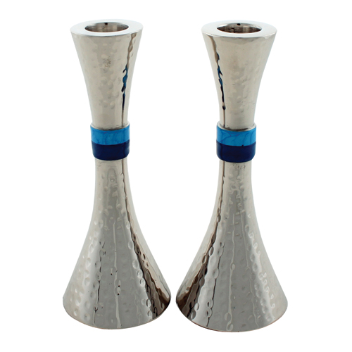 Hammered Design Aluminium Candlesticks 16cm- Multicolored