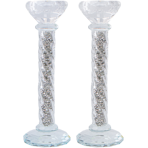 Crystal Candlesticks 22 Cm- With Decorative Silvered Stones