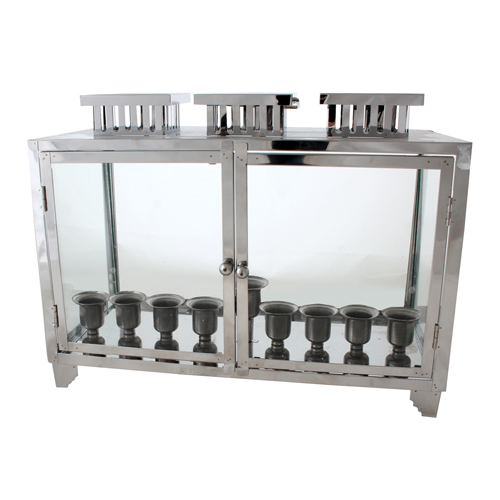 Nickel And Glass Box For Menorah 31x40x20 Cm With Candle Holders