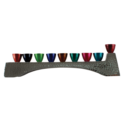 Elegant Hammered Menorah 30.5*7cm- With Multicoloured Branches