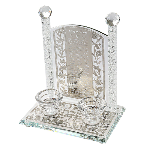Crystal Candlesticks 26 Cm- Metal Plaque With Candle Lighting Blessing Inscription In Pomegranate Mo