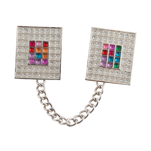"""Nickel Talit Clip With Chain- """"choshen"""" Motif"""
