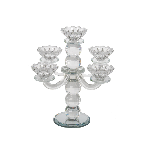 Elegant Crystal 5 Branch Candlesticks 25 Cm