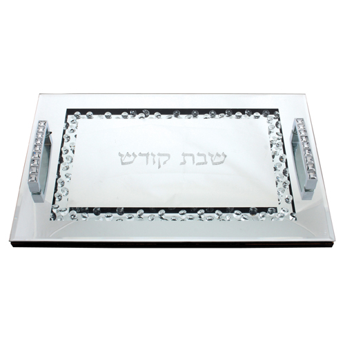 Glass Challah Tray 40*25 Set With Stones