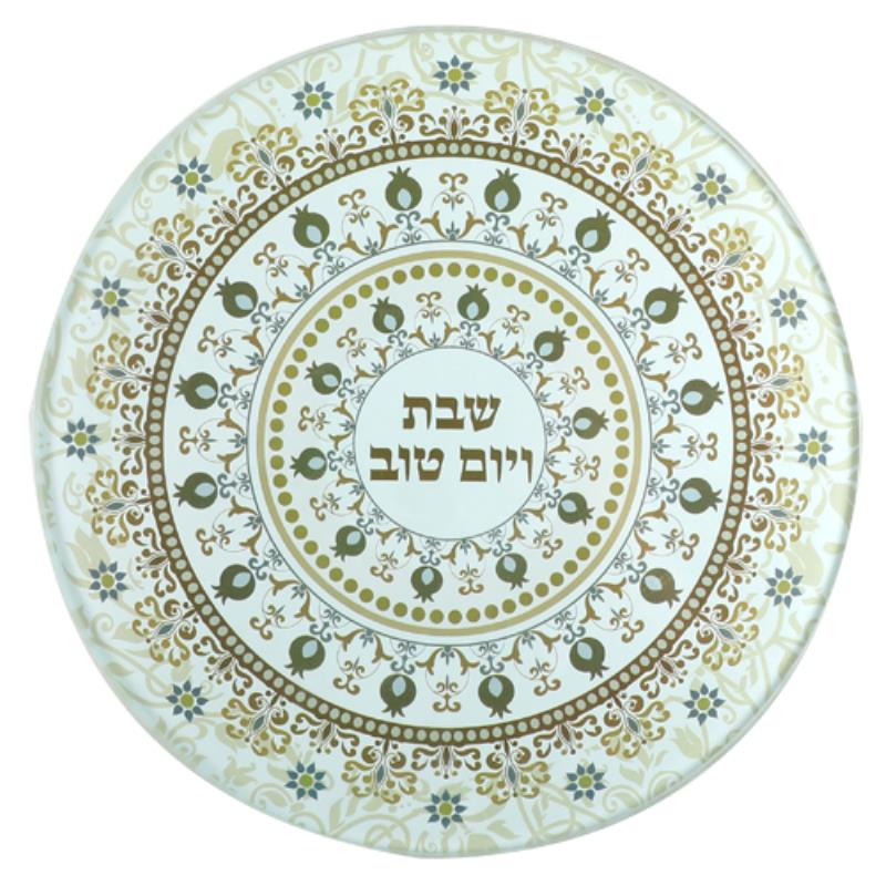 Reinforced Thick Glass Trivet 19 Cm- Printed Brown Ornaments