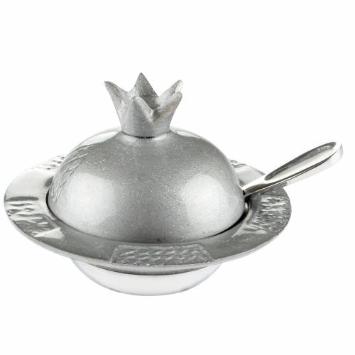 Aluminum Pomegranate Honey Dish 12*8 Cm- Sparkling Gray