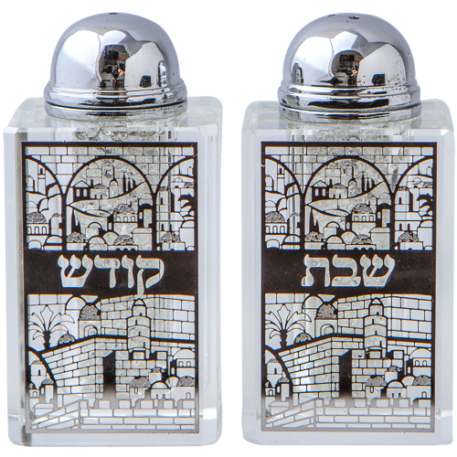 Crystal Salt Shaker 8*4cm- Laser Cut Metal Plaque- Jerusalem Motif